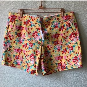 J Crew Yellow Floral Bright Shorts 8